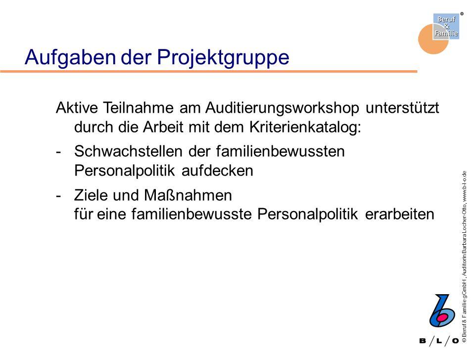 © Beruf & Familie gGmbH, Auditorin Barbara Locher-Otto, www.b-l-o.de Aufgaben der Projektgruppe Aktive Teilnahme am Auditierungsworkshop unterstützt d