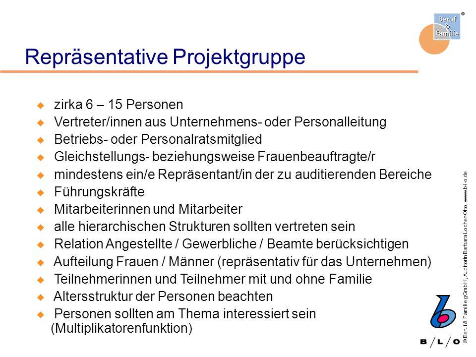 © Beruf & Familie gGmbH, Auditorin Barbara Locher-Otto, www.b-l-o.de Repräsentative Projektgruppe u zirka 6 – 15 Personen u Vertreter/innen aus Untern