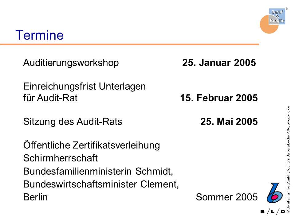 © Beruf & Familie gGmbH, Auditorin Barbara Locher-Otto, www.b-l-o.de Termine Auditierungsworkshop 25. Januar 2005 Einreichungsfrist Unterlagen für Aud