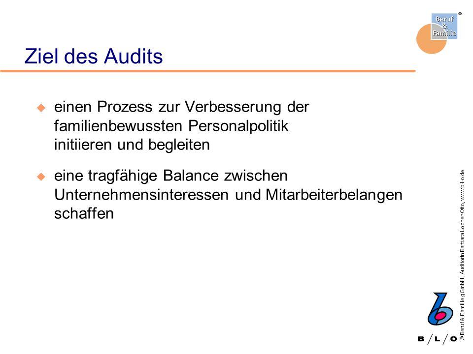 © Beruf & Familie gGmbH, Auditorin Barbara Locher-Otto, www.b-l-o.de Aufgaben der Projektleitung Ansprechpartnerin / Ansprechpartner während der gesamten Auditierung Verantwortlich für: - Organisation des Auditierungsworkshops - repräsentative Projektgruppe - interne Abstimmung der Ziele - Unterlagen für den Audit-Rat (Informationen zum Unternehmen, Zielvereinbarung, Plakatdarstellung)