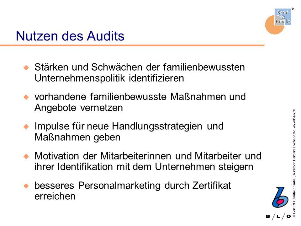 © Beruf & Familie gGmbH, Auditorin Barbara Locher-Otto, www.b-l-o.de Nutzen des Audits u Stärken und Schwächen der familienbewussten Unternehmenspolit