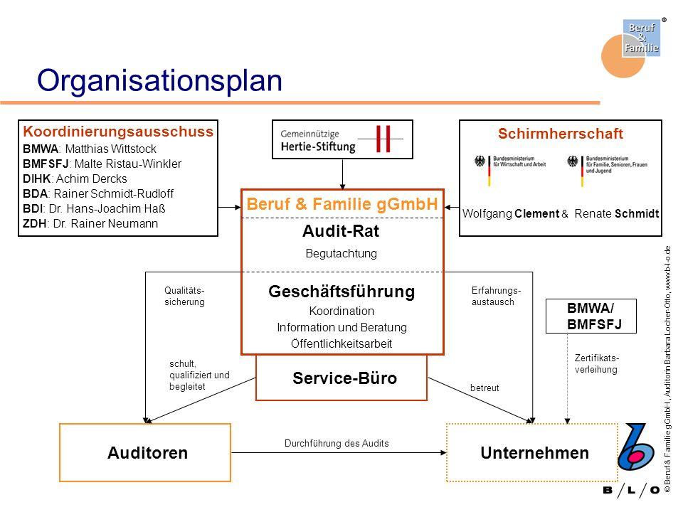 © Beruf & Familie gGmbH, Auditorin Barbara Locher-Otto, www.b-l-o.de Organisationsplan Unternehmen Durchführung des Audits Qualitäts- sicherung Erfahr
