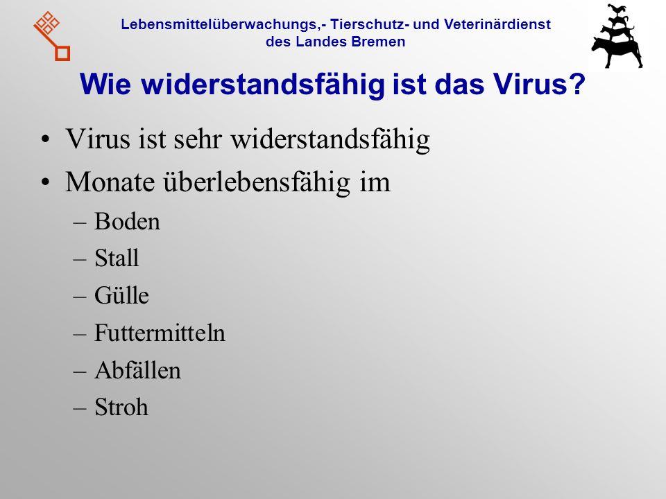 Lebensmittelüberwachungs,- Tierschutz- und Veterinärdienst des Landes Bremen Wie widerstandsfähig ist das Virus? Virus ist sehr widerstandsfähig Monat