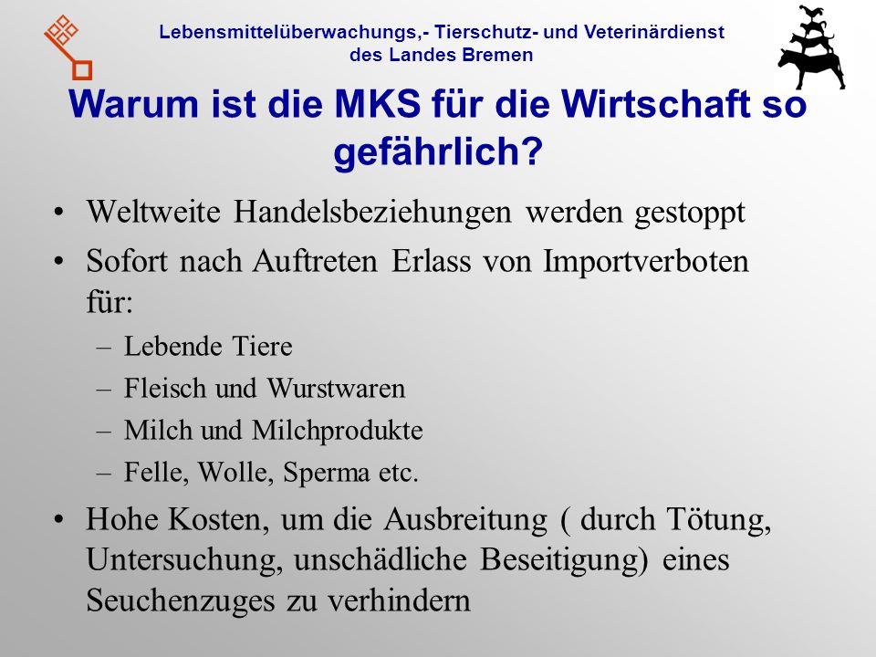 Lebensmittelüberwachungs,- Tierschutz- und Veterinärdienst des Landes Bremen Warum ist die MKS für die Wirtschaft so gefährlich? Weltweite Handelsbezi