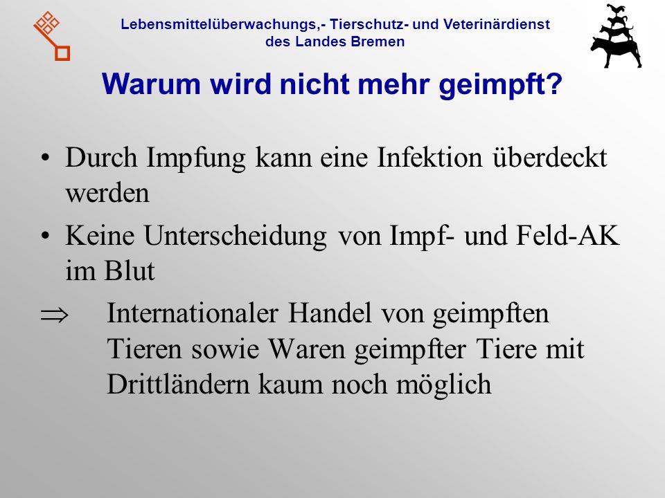 Lebensmittelüberwachungs,- Tierschutz- und Veterinärdienst des Landes Bremen Warum wird nicht mehr geimpft? Durch Impfung kann eine Infektion überdeck