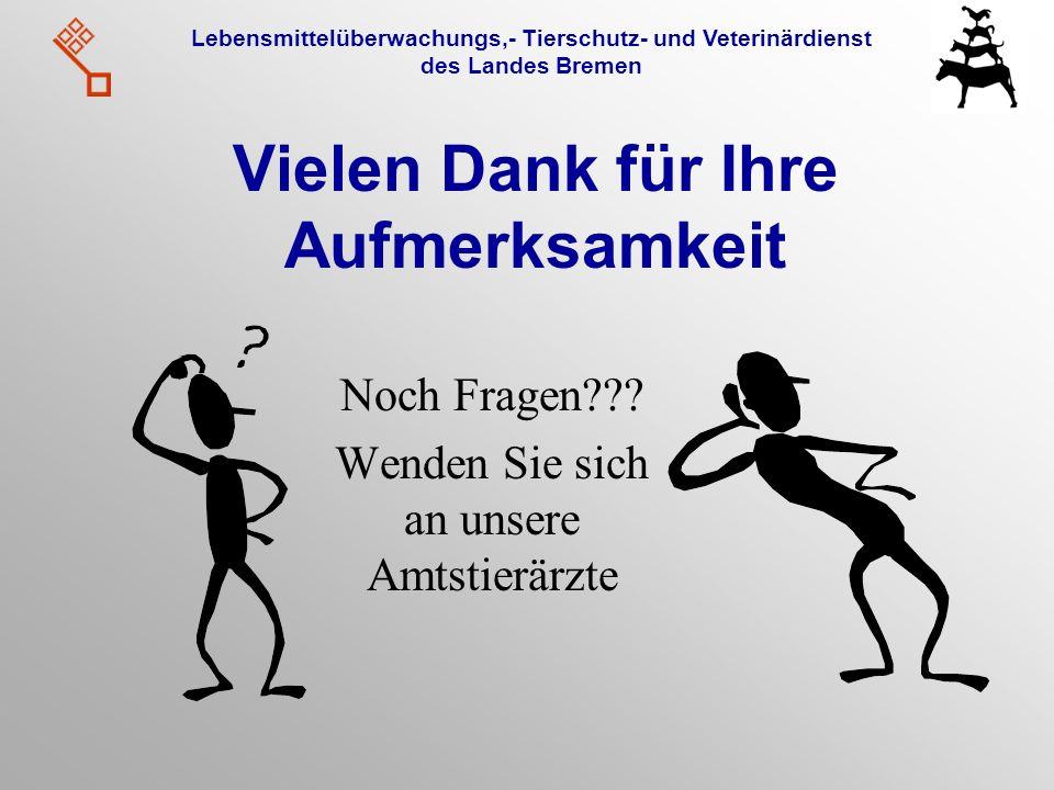 Lebensmittelüberwachungs,- Tierschutz- und Veterinärdienst des Landes Bremen Vielen Dank für Ihre Aufmerksamkeit Noch Fragen??? Wenden Sie sich an uns