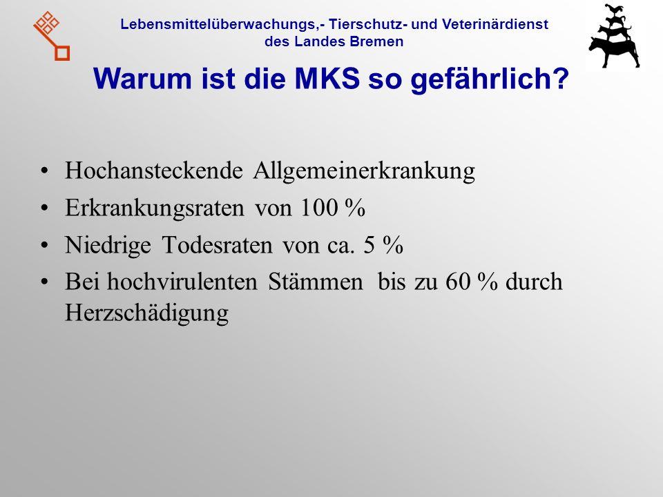 Lebensmittelüberwachungs,- Tierschutz- und Veterinärdienst des Landes Bremen Warum ist die MKS so gefährlich? Hochansteckende Allgemeinerkrankung Erkr