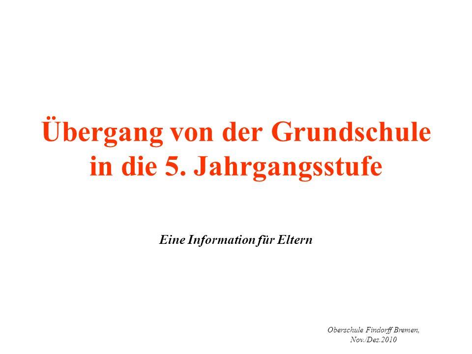 Oberschule Findorff Bremen, Nov./Dez.2010 Übergang von der Grundschule in die 5. Jahrgangsstufe Eine Information für Eltern