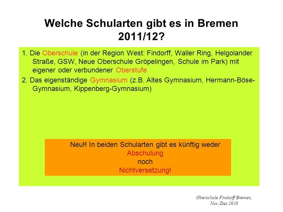 Oberschule Findorff Bremen, Nov./Dez.2010 Welche Schularten gibt es in Bremen 2011/12? 1. Die Oberschule (in der Region West: Findorff, Waller Ring, H