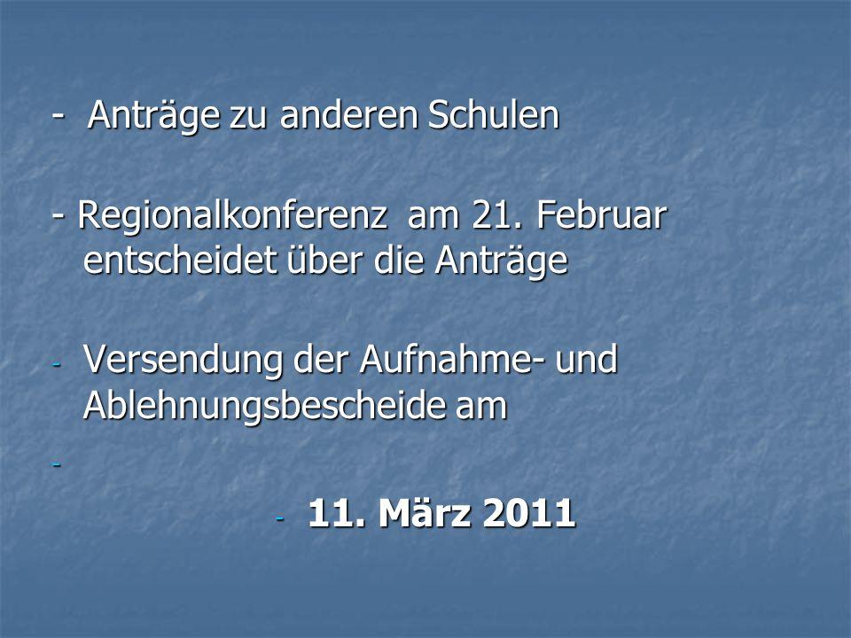 - Anträge zu anderen Schulen - Regionalkonferenz am 21. Februar entscheidet über die Anträge - Versendung der Aufnahme- und Ablehnungsbescheide am - -