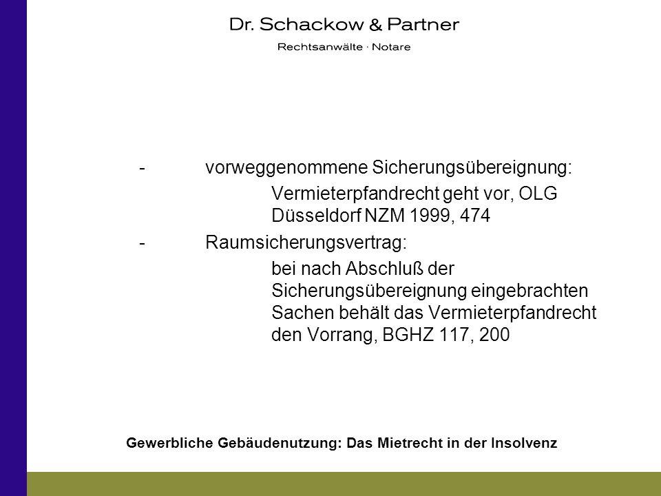 Gewerbliche Gebäudenutzung: Das Mietrecht in der Insolvenz -vorweggenommene Sicherungsübereignung: Vermieterpfandrecht geht vor, OLG Düsseldorf NZM 19