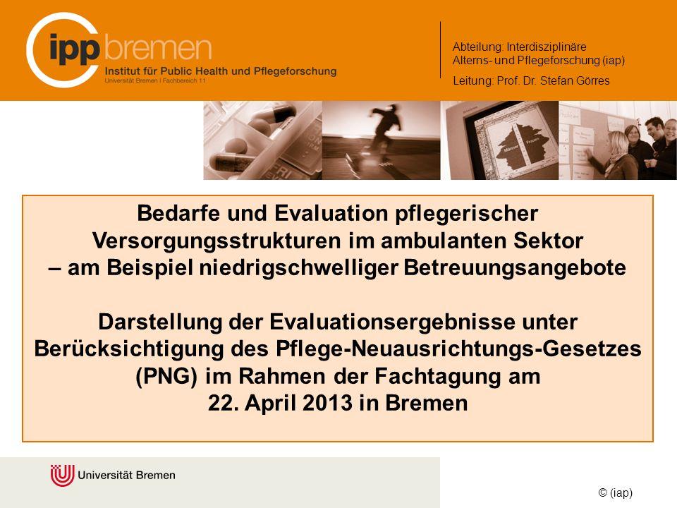 Bedarfe und Evaluation pflegerischer Versorgungsstrukturen im ambulanten Sektor – am Beispiel niedrigschwelliger Betreuungsangebote Darstellung der Ev