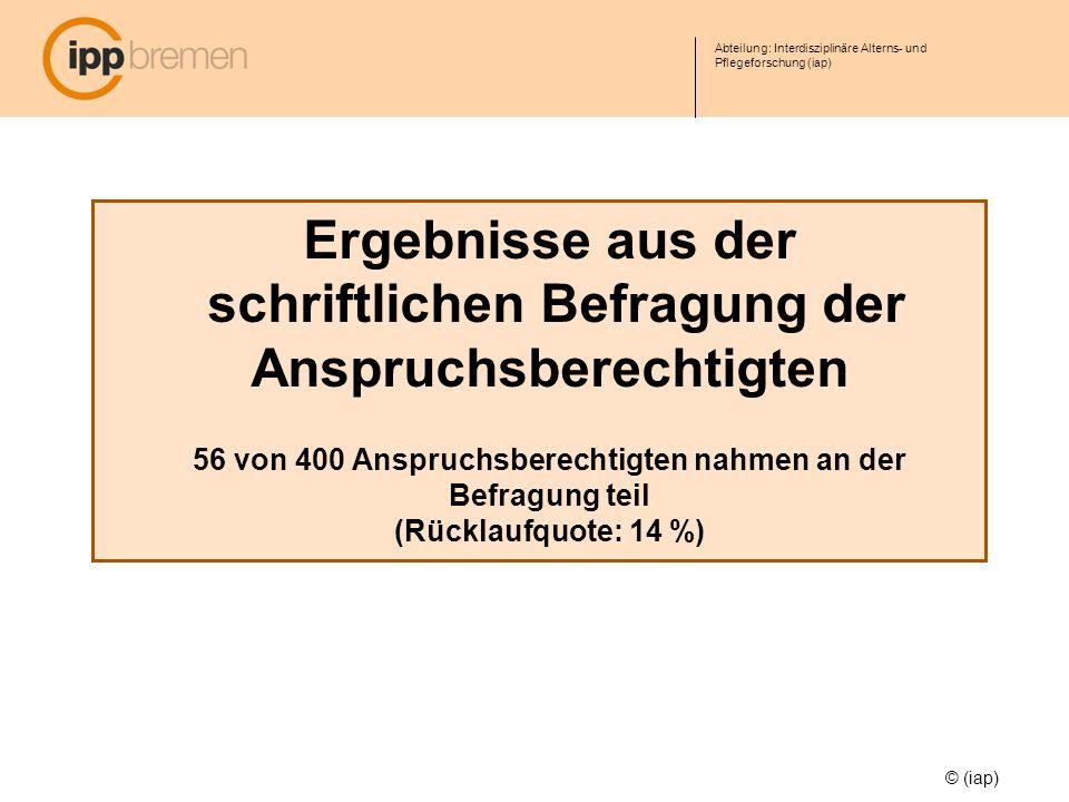 Abteilung: Interdisziplinäre Alterns- und Pflegeforschung (iap) © (iap) Ergebnisse aus der schriftlichen Befragung der Anspruchsberechtigten 56 von 40