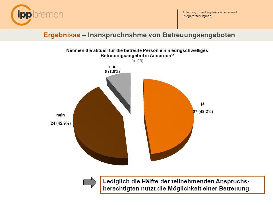 Abteilung: Interdisziplinäre Alterns- und Pflegeforschung (iap) Ergebnisse – Inanspruchnahme von Betreuungsangeboten Lediglich die Hälfte der teilnehm