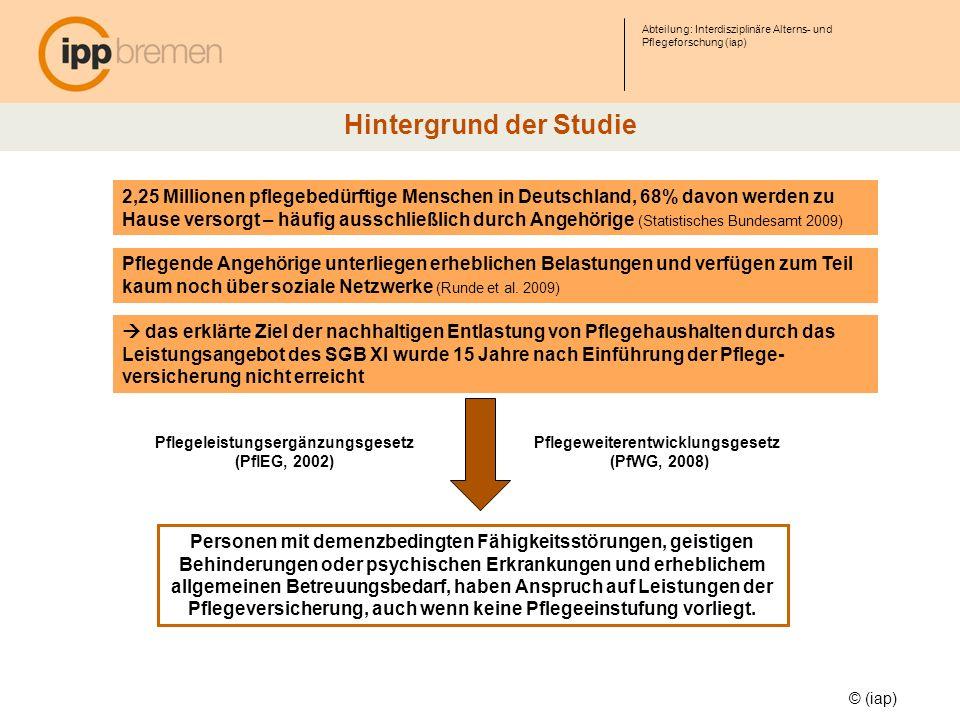 Abteilung: Interdisziplinäre Alterns- und Pflegeforschung (iap) © (iap) Hintergrund der Studie 2,25 Millionen pflegebedürftige Menschen in Deutschland