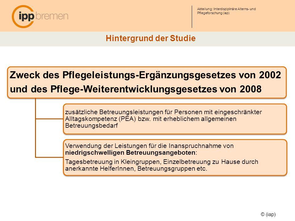 Abteilung: Interdisziplinäre Alterns- und Pflegeforschung (iap) Zweck des Pflegeleistungs-Ergänzungsgesetzes von 2002 und des Pflege-Weiterentwicklung
