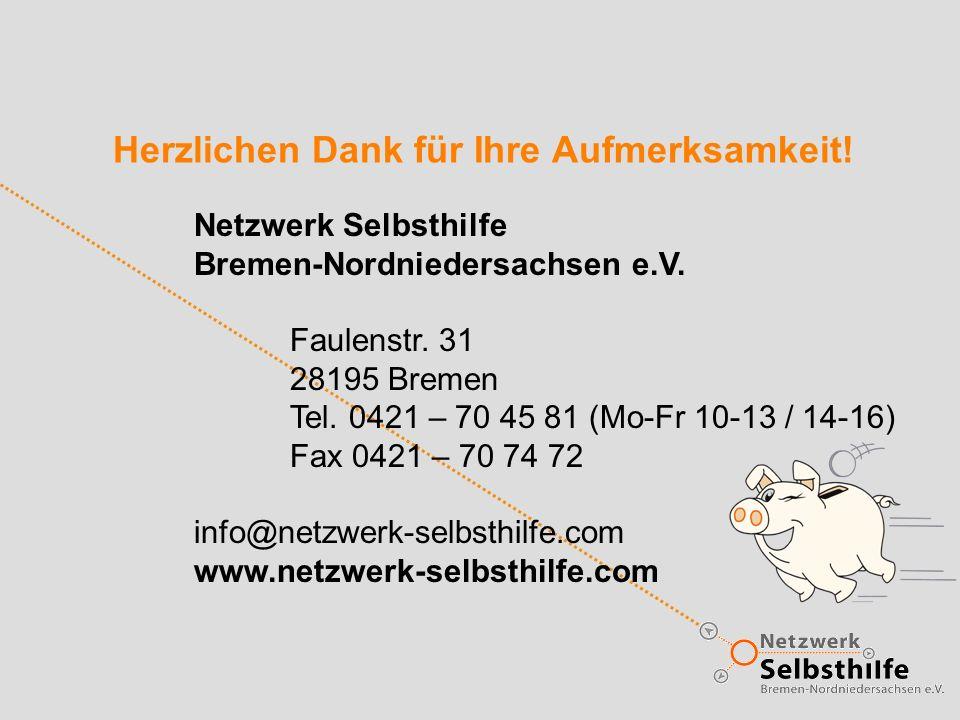 Herzlichen Dank für Ihre Aufmerksamkeit. Netzwerk Selbsthilfe Bremen-Nordniedersachsen e.V.
