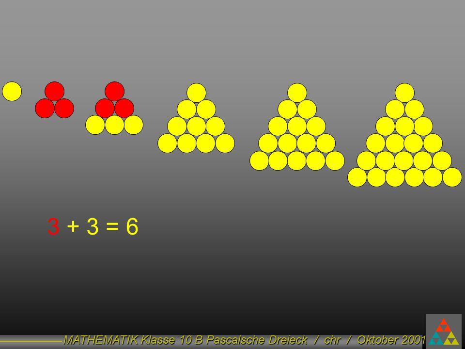 MATHEMATIK Klasse 10 B Pascalsche Dreieck / chr / Oktober 2001 3 + 3 = 6
