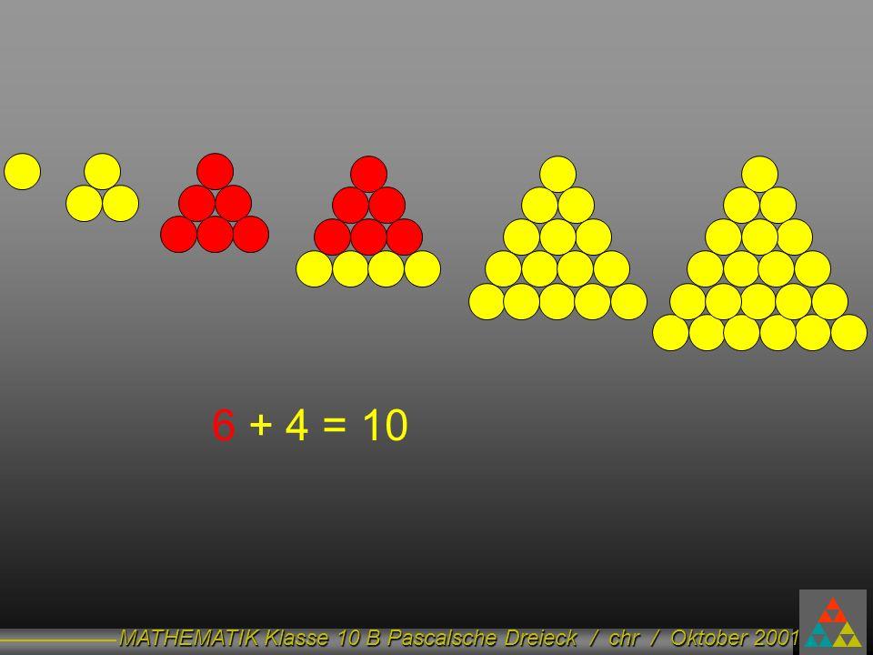 MATHEMATIK Klasse 10 B Pascalsche Dreieck / chr / Oktober 2001 6 + 4 = 10