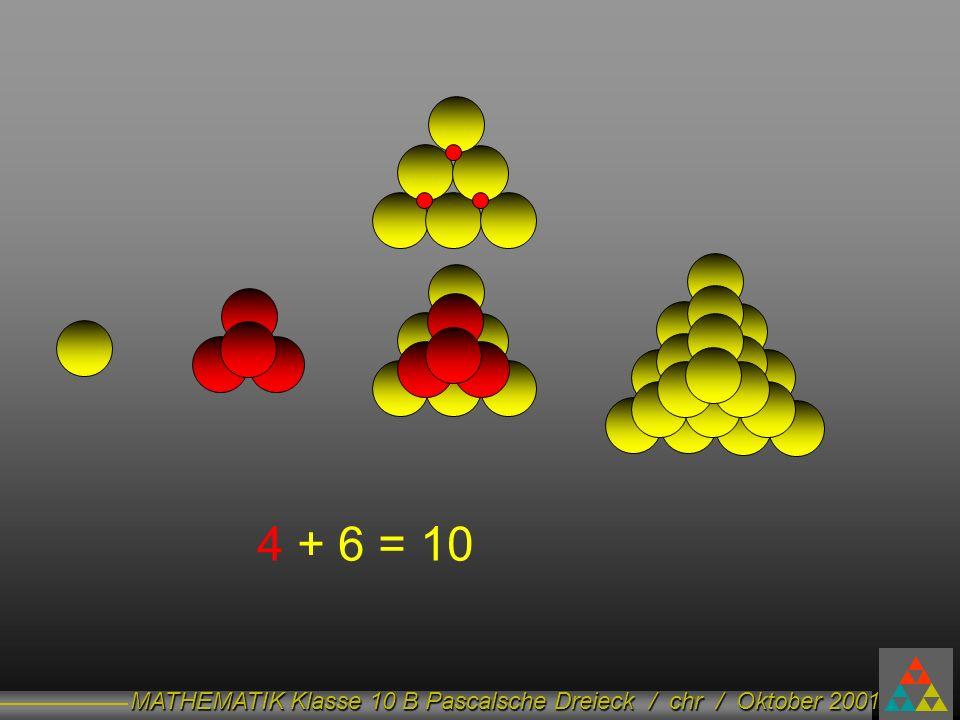 MATHEMATIK Klasse 10 B Pascalsche Dreieck / chr / Oktober 2001 4 + 6 = 10
