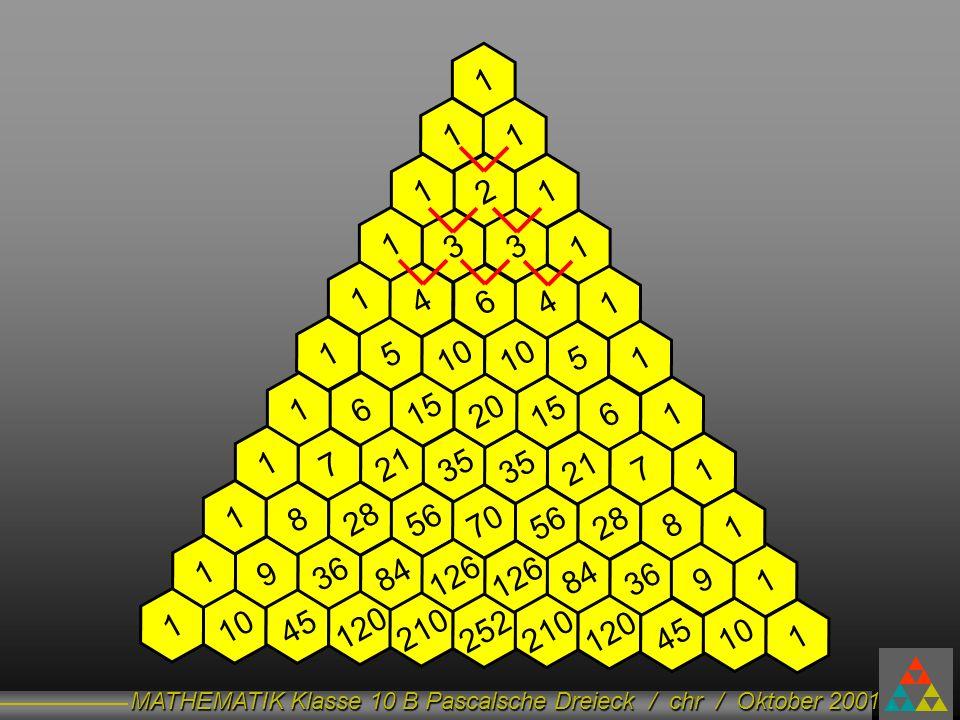 MATHEMATIK Klasse 10 B Pascalsche Dreieck / chr / Oktober 2001 10 + 10 = 20