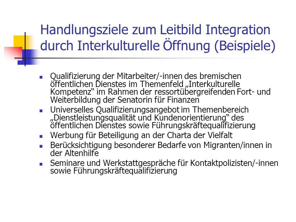 Handlungsziele zum Leitbild Integration durch Interkulturelle Öffnung (Beispiele) Qualifizierung der Mitarbeiter/-innen des bremischen öffentlichen Di
