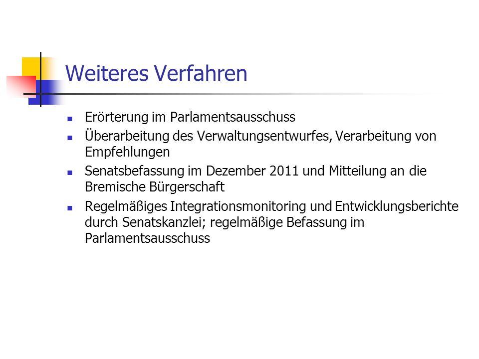 Weiteres Verfahren Erörterung im Parlamentsausschuss Überarbeitung des Verwaltungsentwurfes, Verarbeitung von Empfehlungen Senatsbefassung im Dezember