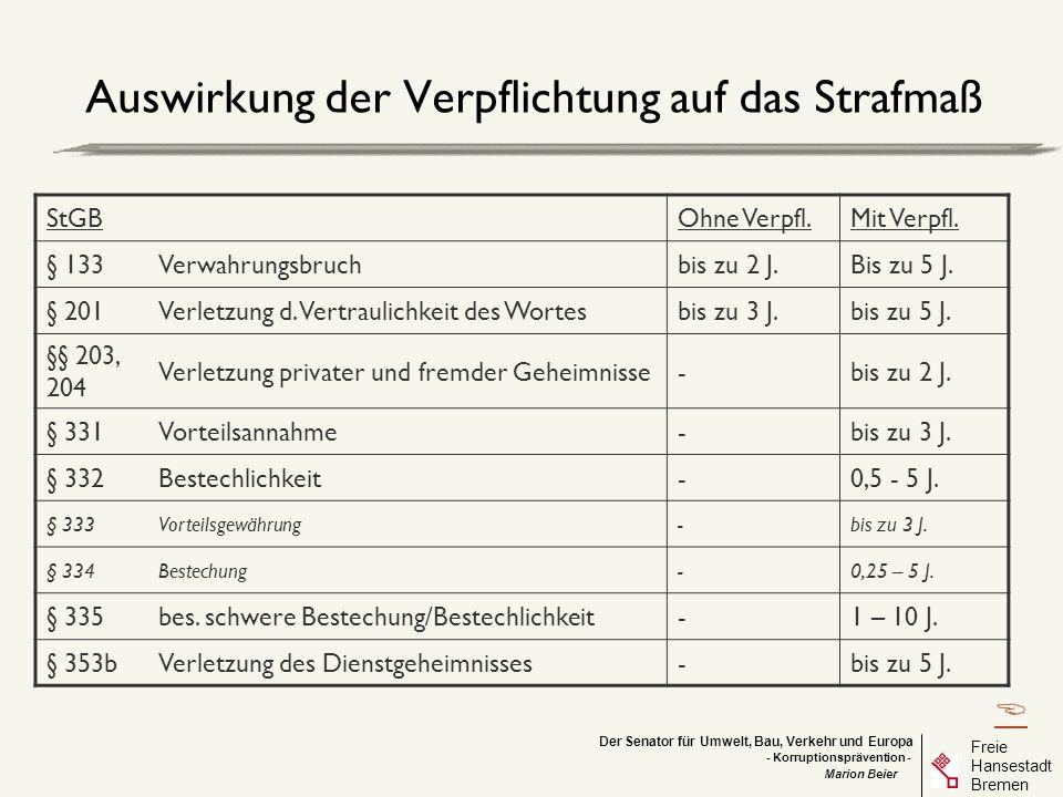 Der Senator für Umwelt, Bau, Verkehr und Europa Freie Hansestadt Bremen - Korruptionsprävention - Marion Beier Auswirkung der Verpflichtung auf das St