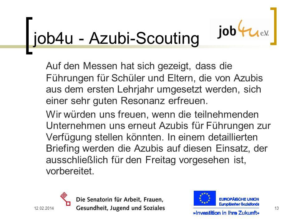 12.02.201413 job4u - Azubi-Scouting Auf den Messen hat sich gezeigt, dass die Führungen für Schüler und Eltern, die von Azubis aus dem ersten Lehrjahr
