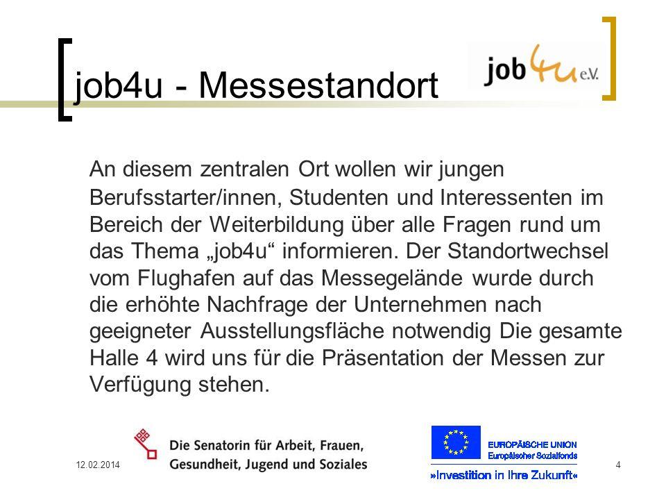 12.02.20144 job4u - Messestandort An diesem zentralen Ort wollen wir jungen Berufsstarter/innen, Studenten und Interessenten im Bereich der Weiterbild