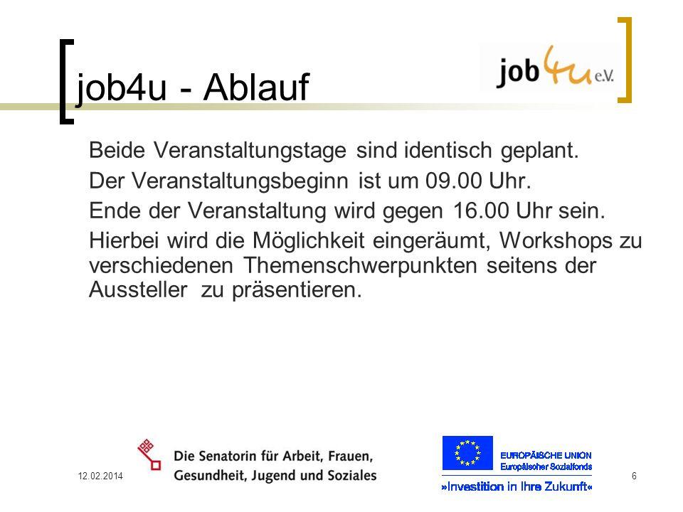12.02.20146 job4u - Ablauf Beide Veranstaltungstage sind identisch geplant. Der Veranstaltungsbeginn ist um 09.00 Uhr. Ende der Veranstaltung wird geg
