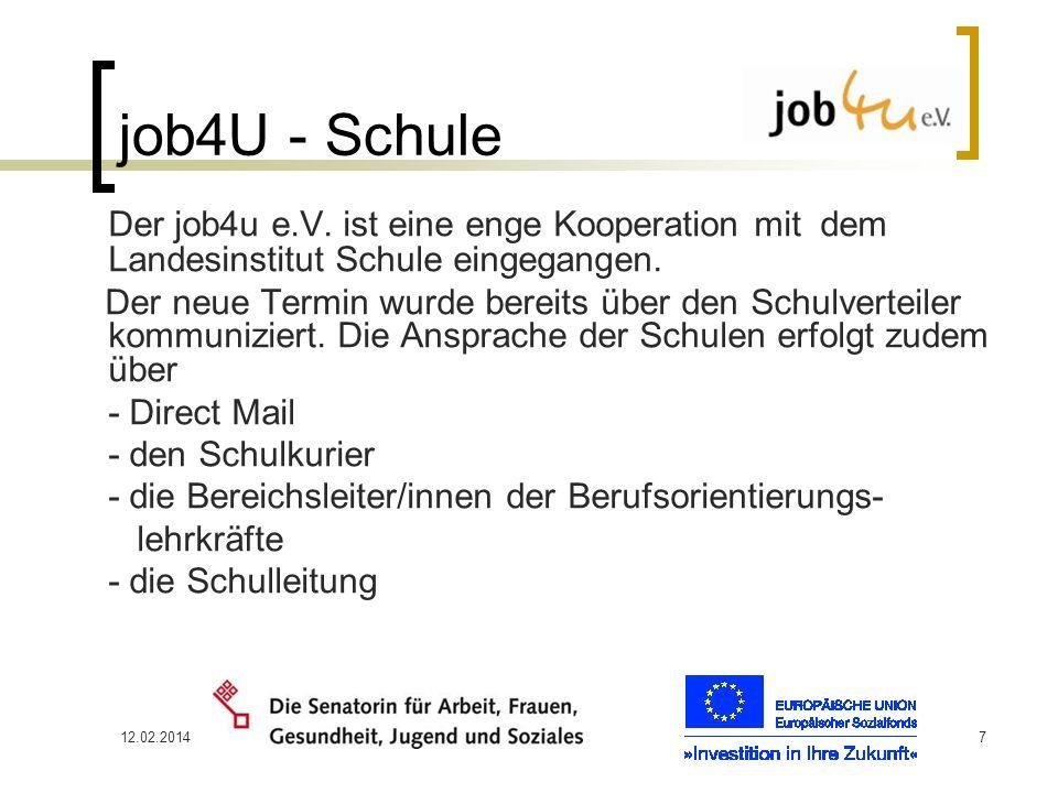 12.02.20147 job4U - Schule Der job4u e.V. ist eine enge Kooperation mit dem Landesinstitut Schule eingegangen. Der neue Termin wurde bereits über den
