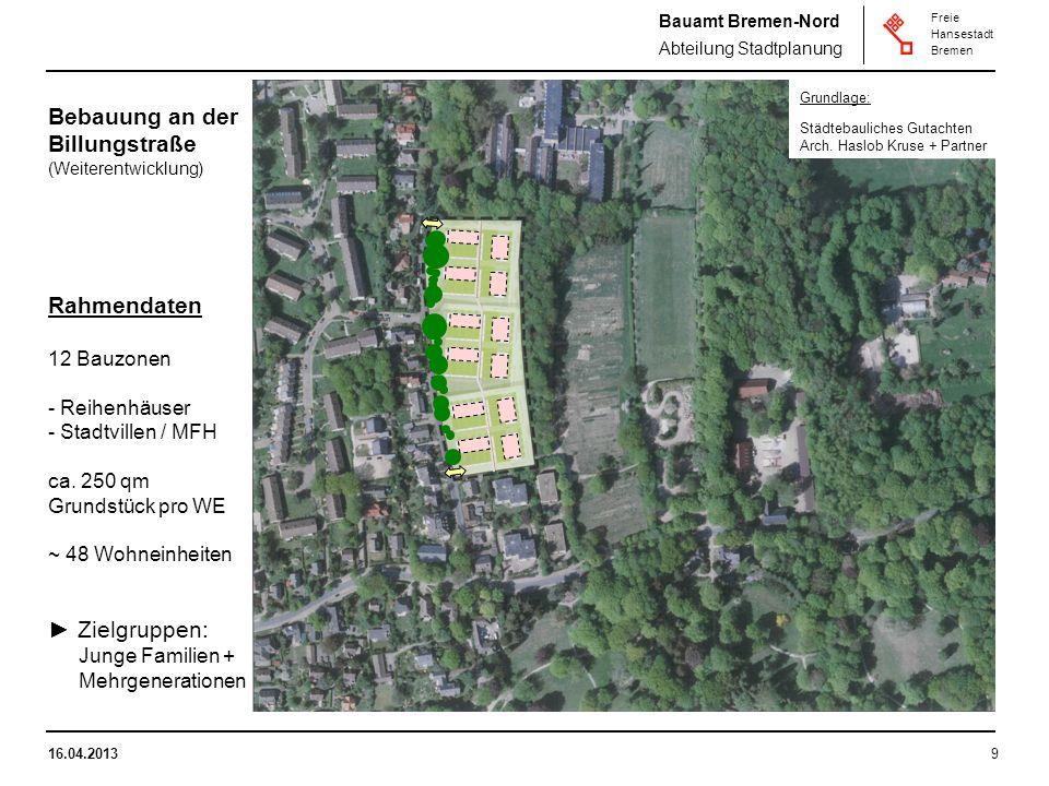 Bauamt Bremen-Nord Abteilung Stadtplanung Freie Hansestadt Bremen 16.04.20139 Bebauung an der Billungstraße (Weiterentwicklung) Rahmendaten 12 Bauzonen - Reihenhäuser - Stadtvillen / MFH ca.