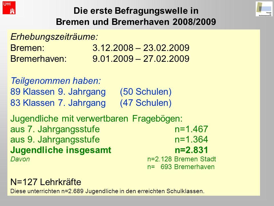 Die erste Befragungswelle in Bremen und Bremerhaven 2008/2009 Erhebungszeiträume: Bremen: 3.12.2008 – 23.02.2009 Bremerhaven: 9.01.2009 – 27.02.2009 T