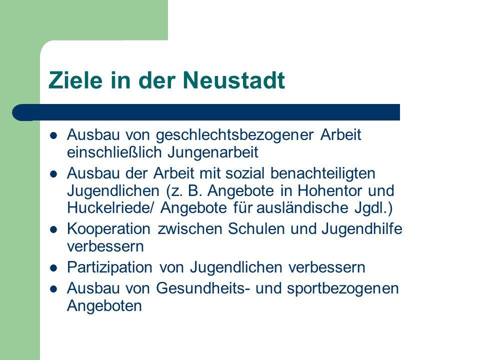 Ziele in der Neustadt Ausbau von geschlechtsbezogener Arbeit einschließlich Jungenarbeit Ausbau der Arbeit mit sozial benachteiligten Jugendlichen (z.