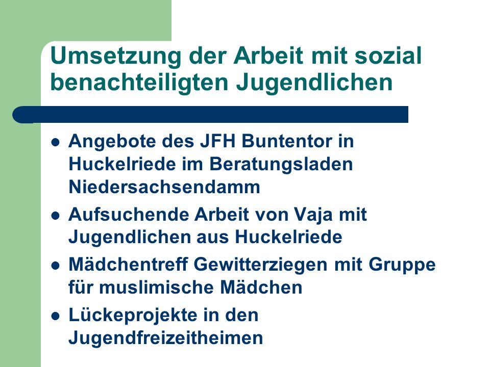 Umsetzung der Arbeit mit sozial benachteiligten Jugendlichen Angebote des JFH Buntentor in Huckelriede im Beratungsladen Niedersachsendamm Aufsuchende