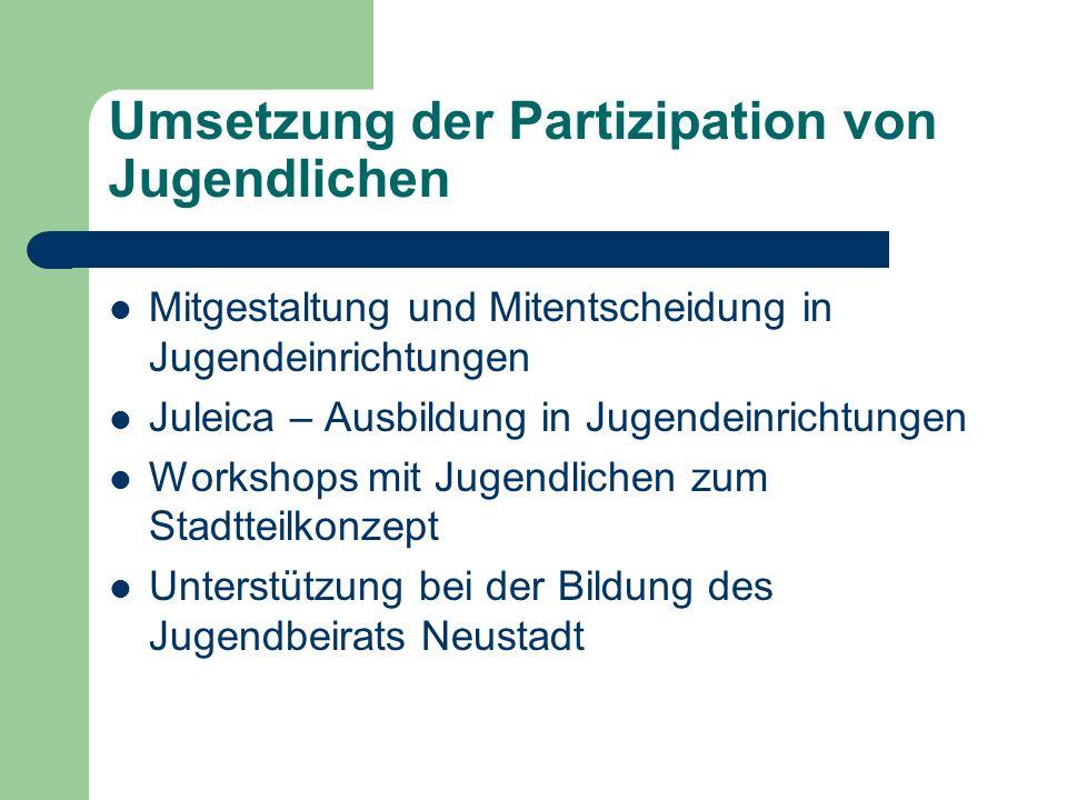 Umsetzung der Partizipation von Jugendlichen Mitgestaltung und Mitentscheidung in Jugendeinrichtungen Juleica – Ausbildung in Jugendeinrichtungen Work