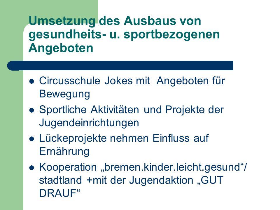 Umsetzung des Ausbaus von gesundheits- u. sportbezogenen Angeboten Circusschule Jokes mit Angeboten für Bewegung Sportliche Aktivitäten und Projekte d