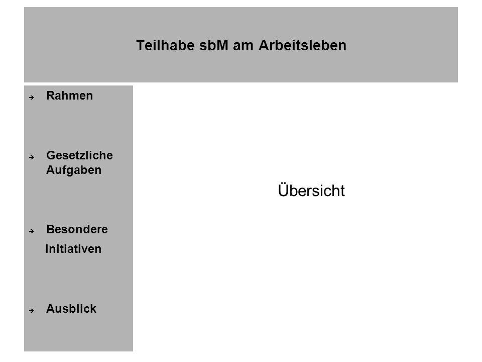 Teilhabe sbM am Arbeitsleben Rahmen Gesetzliche Aufgaben Besondere Initiativen Ausblick Amt f Versorgung u Integration Bremen Dezernat 5: Integration samt § 107 II SGB IX Magistrat Brhv als örtl.