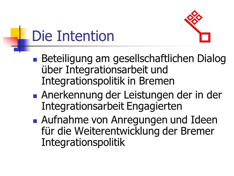 Die Intention Beteiligung am gesellschaftlichen Dialog über Integrationsarbeit und Integrationspolitik in Bremen Anerkennung der Leistungen der in der