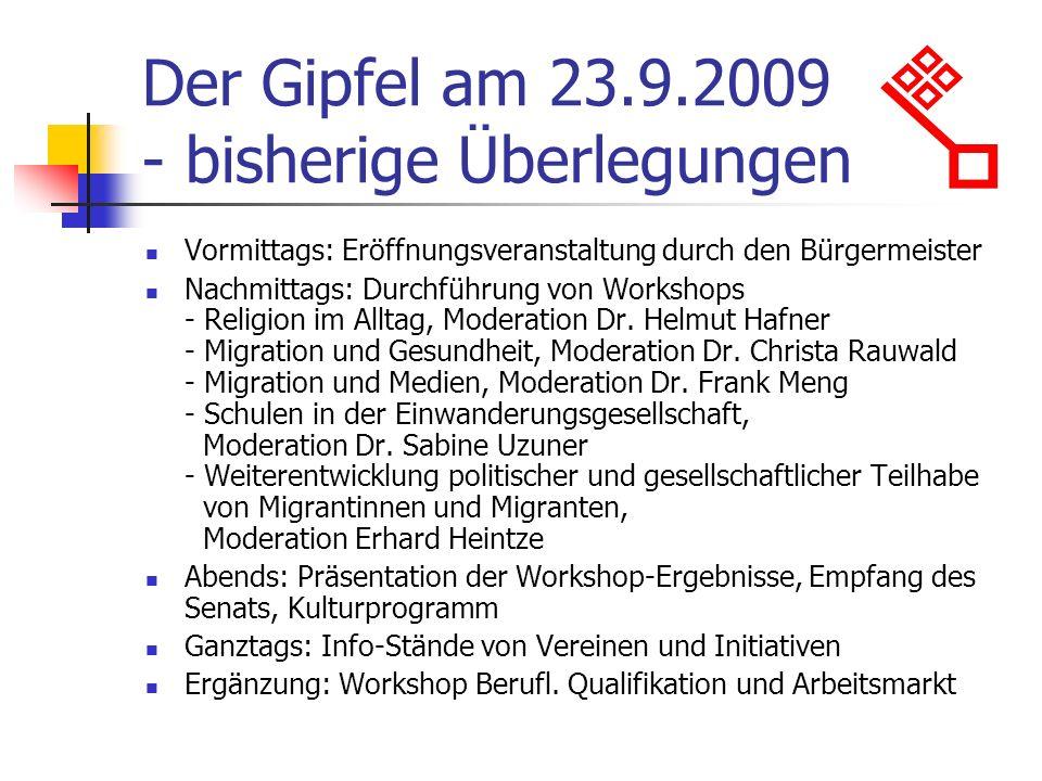 Der Gipfel am 23.9.2009 - bisherige Überlegungen Vormittags: Eröffnungsveranstaltung durch den Bürgermeister Nachmittags: Durchführung von Workshops -