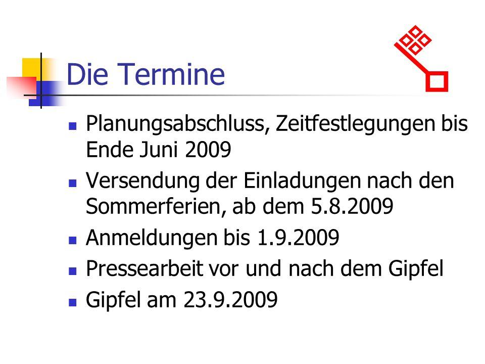 Die Termine Planungsabschluss, Zeitfestlegungen bis Ende Juni 2009 Versendung der Einladungen nach den Sommerferien, ab dem 5.8.2009 Anmeldungen bis 1
