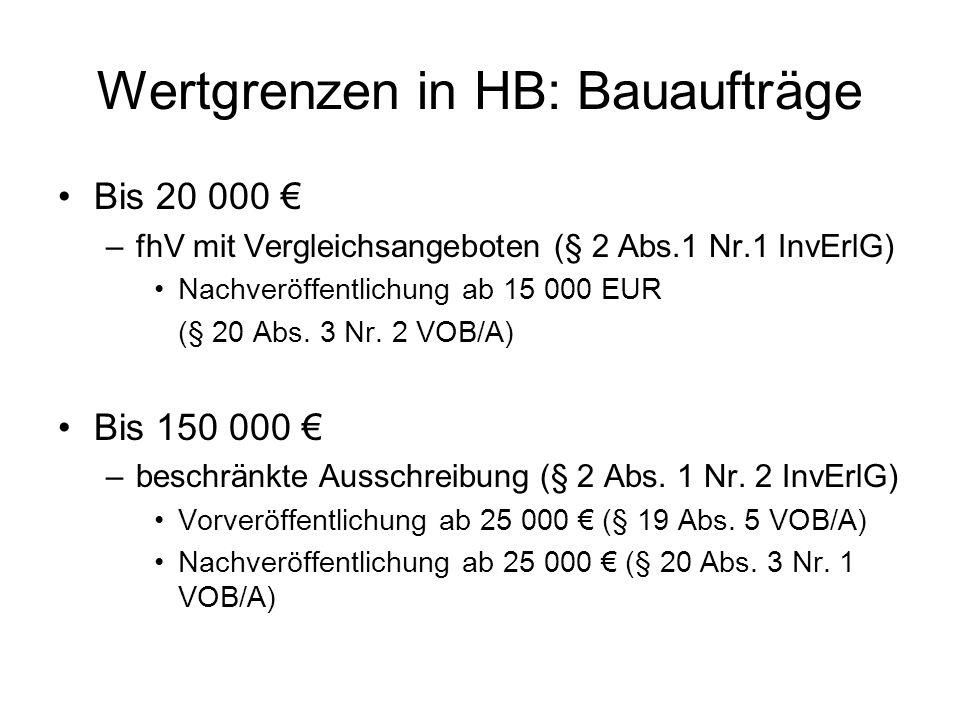 Wertgrenzen in HB: Bauaufträge Bis 20 000 –fhV mit Vergleichsangeboten (§ 2 Abs.1 Nr.1 InvErlG) Nachveröffentlichung ab 15 000 EUR (§ 20 Abs.