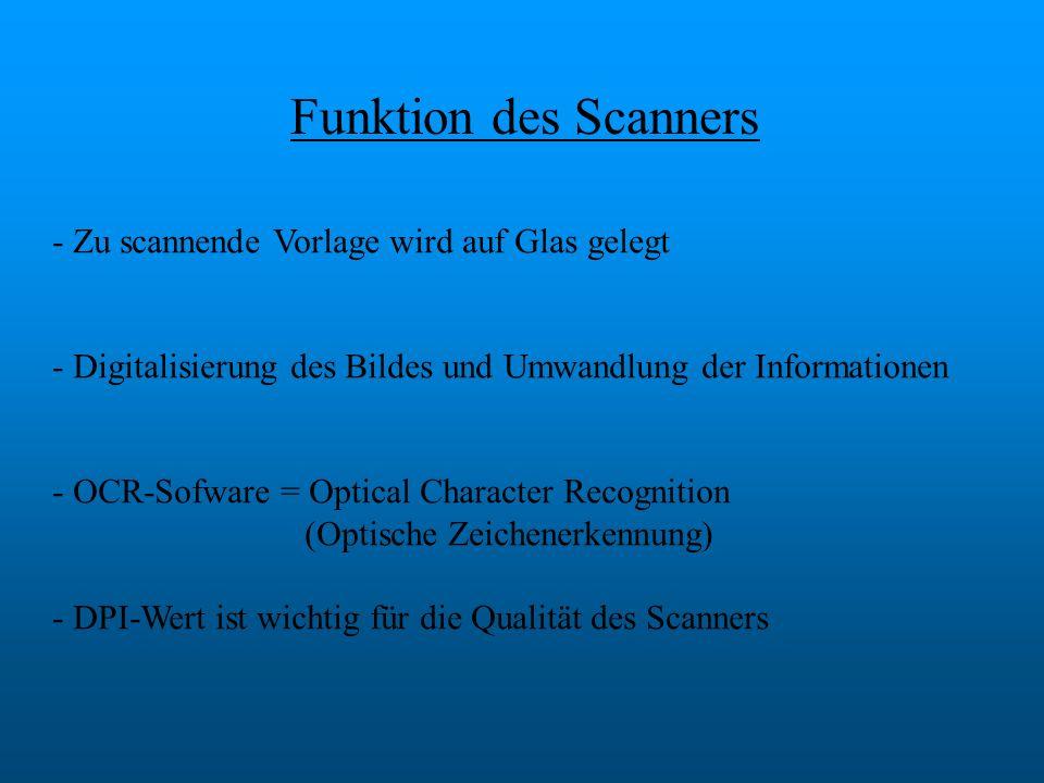 Funktion des Scanners - Zu scannende Vorlage wird auf Glas gelegt - Digitalisierung des Bildes und Umwandlung der Informationen - OCR-Sofware = Optica