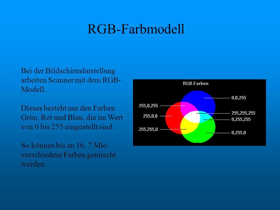 RGB-Farbmodell Bei der Bildschirmdarstellung arbeiten Scanner mit dem RGB- Modell. Dieses besteht aus den Farben Grün, Rot und Blau, die im Wert von 0