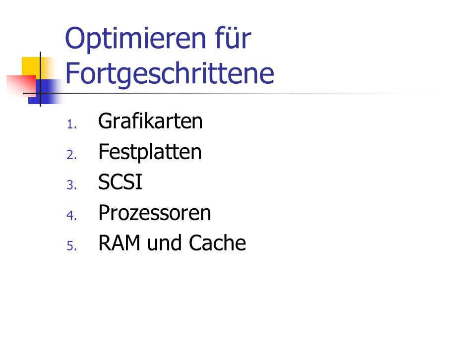 Optimieren für Fortgeschrittene 1.Grafikarten 2. Festplatten 3.