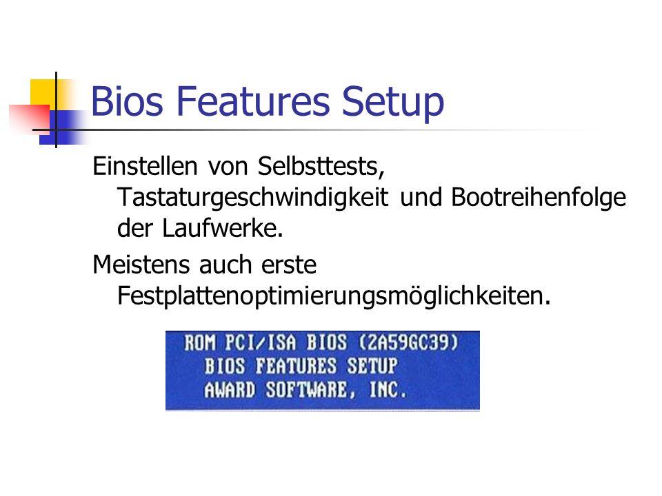 Bios Features Setup Einstellen von Selbsttests, Tastaturgeschwindigkeit und Bootreihenfolge der Laufwerke. Meistens auch erste Festplattenoptimierungs
