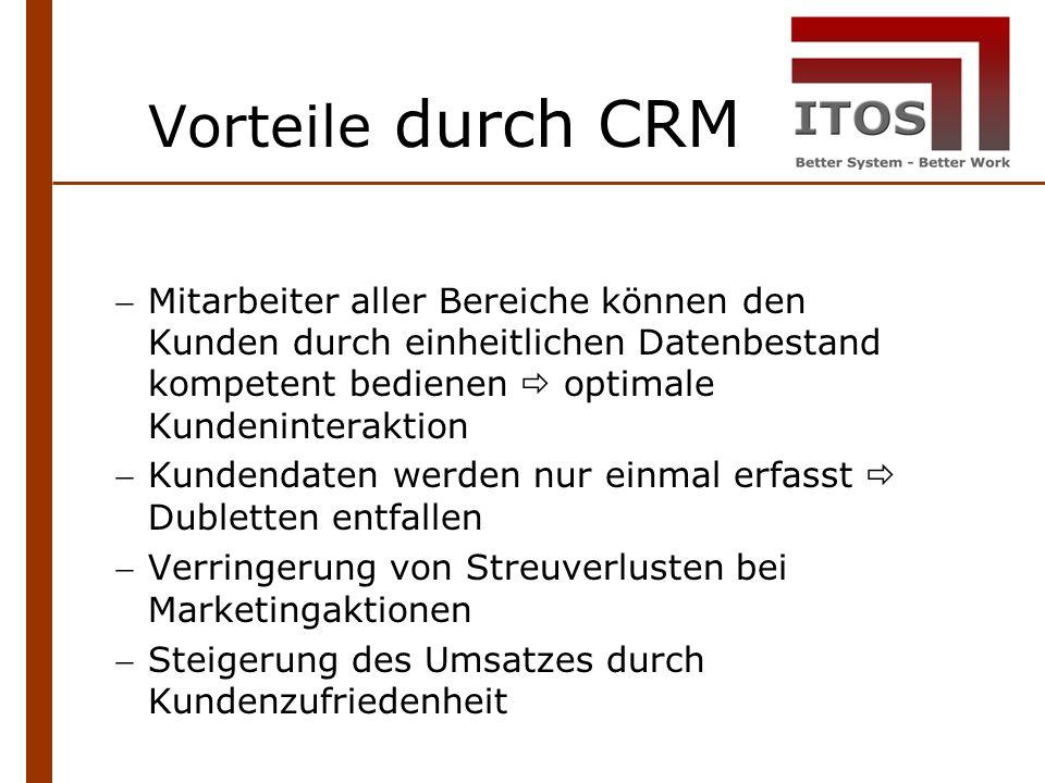 Vorteile durch CRM Mitarbeiter aller Bereiche können den Kunden durch einheitlichen Datenbestand kompetent bedienen optimale Kundeninteraktion Kundendaten werden nur einmal erfasst Dubletten entfallen Verringerung von Streuverlusten bei Marketingaktionen Steigerung des Umsatzes durch Kundenzufriedenheit