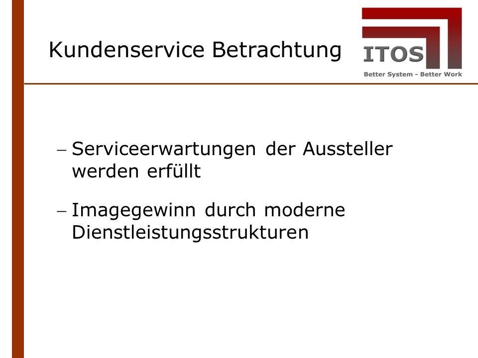 Serviceerwartungen der Aussteller werden erfüllt Imagegewinn durch moderne Dienstleistungsstrukturen Kundenservice Betrachtung