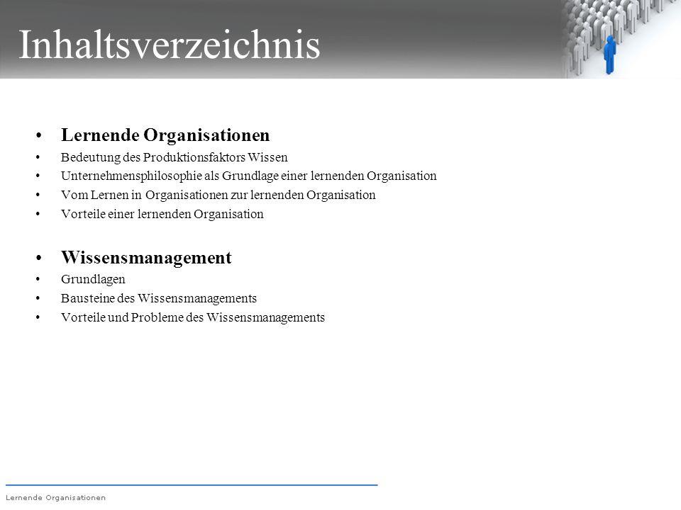 Inhaltsverzeichnis Lernende Organisationen Bedeutung des Produktionsfaktors Wissen Unternehmensphilosophie als Grundlage einer lernenden Organisation